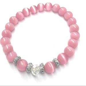 Jewelry - Pink and Silver Beaded Sparkle Stretch Bracelets
